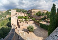 Panorama of the Alhambra. Panoramic views of the Alhambra, the internal and external structure, as seen from the Alhambra Royalty Free Stock Photo