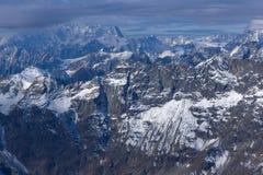 Panorama alle alpi svizzere dal paradiso del ghiacciaio del Cervino alle alpi, Svizzera Fotografie Stock Libere da Diritti