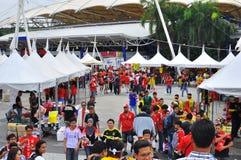 Panorama : Allumette amicale de la Malaisie et du Liverpool Images stock