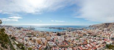 Panorama of Almería from the Alcazaba stock photography