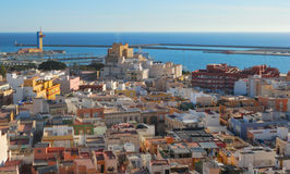 Panorama Almeria. Panoramic of the city of Almeria seen from the Alcazaba (Spain Stock Images