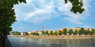 Panorama along the river Adige in Verona Stock Photo