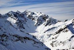 Panorama alpestre de l'hiver Photos libres de droits
