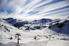 Panorama alpestre del invierno Imágenes de archivo libres de regalías