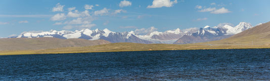 Panorama of alpine lake in TIen Shan mountains Stock Image