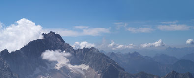 Panorama of Alpine mountins Royalty Free Stock Images