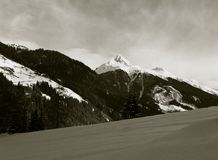 panorama of alpine peaks in fresh snow Stock Image