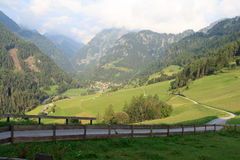 Panorama with alpine village Hinterbichl (muncipal Pragraten) and mountains, Austria Royalty Free Stock Image