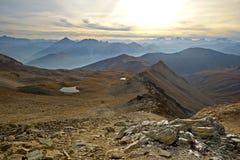 Panorama alpino al tramonto Fotografia Stock
