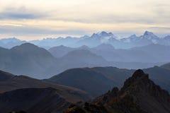 Panorama alpino al tramonto Fotografie Stock