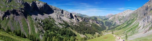 Panorama alpino della montagna di estate Fotografie Stock