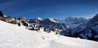 Panorama alpino di inverno Fotografie Stock Libere da Diritti