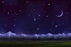 Panorama alpino di notte Fotografia Stock Libera da Diritti