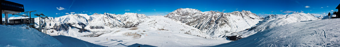 Panorama of the Alps. Alps winter panorama from Livigno, Italy Royalty Free Stock Photo