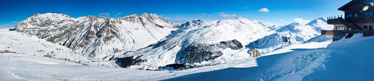 Panorama of the Alps. Alps winter panorama from Livigno, Italy Stock Photography