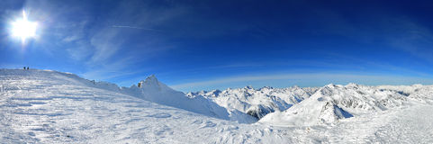 Panorama of Alps. View on Apls with highest point in Soelden Royalty Free Stock Photography