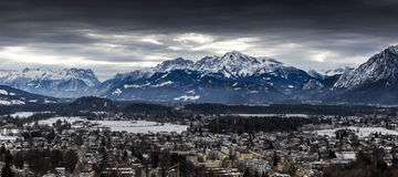 Panorama of Alps covered in snow at Salzburg Stock Photography