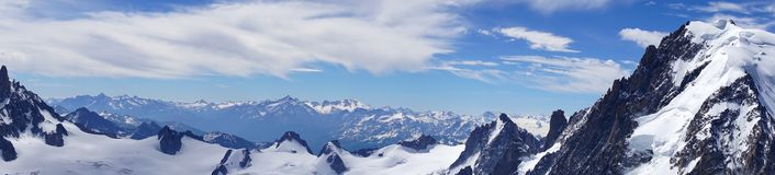 Panorama of the Alps in June. View of the Mont Blanc massif. Royalty Free Stock Image