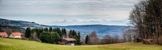 Panorama of the alps from the Jura mountains. Royalty Free Stock Photos
