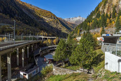 Panorama of Alps and Lotschberg Tunnel under the mountain, Switzerland Stock Images