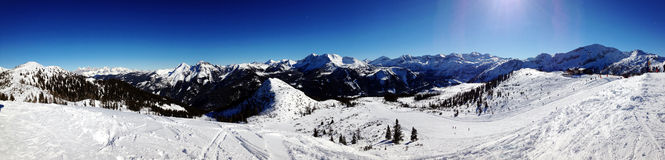 Panorama of Alps Mountains Stock Images