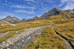Panorama of Alps: mountains and rivers Royalty Free Stock Photo