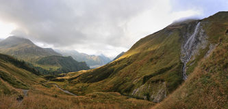 Panorama of Alps: mountains and rivers Royalty Free Stock Photography