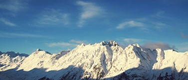 Panorama of the Alps winter morning, Ischgl, Austria Stock Image