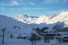 Panorama of the Alps winter morning, Ischgl, Austria Royalty Free Stock Images