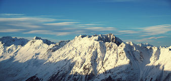 Panorama of the Alps winter morning, Ischgl, Austria Stock Images