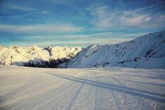 Panorama of the Alps winter morning, Ischgl, Austria Stock Photos