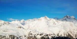 Panorama of the Alps winter morning, Ischgl, Austria Royalty Free Stock Photos