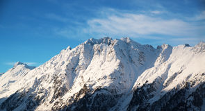 Panorama of the Alps winter morning, Ischgl, Austria Royalty Free Stock Photography