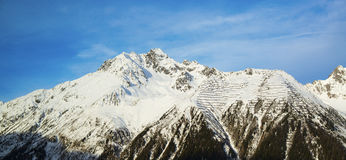 Panorama of the Alps winter morning, Ischgl, Austria Royalty Free Stock Photos
