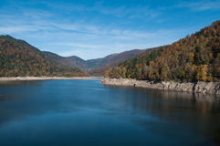 Panorama of alsatian Lake of  Kruth Stock Photography