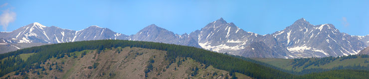 Panorama of the Altai Mountains Royalty Free Stock Photos