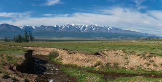 Panorama of Altai mountains with river Royalty Free Stock Photography