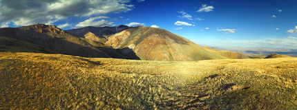 Panorama of Altai Mountains at sunset Royalty Free Stock Image