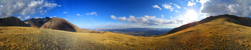 Panorama of Altai Mountains at sunset Royalty Free Stock Photography