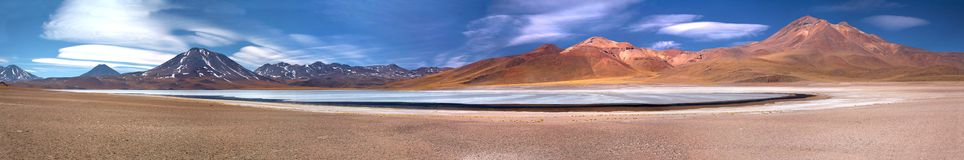 Panorama of altiplanic lagoon Miscanti, Chile Royalty Free Stock Image