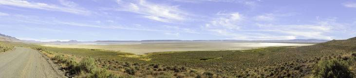 Panorama Alvord Desert, Harney County, Southeastern Oregon, Western United States Stock Photo
