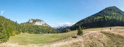 Panorama of amazing mountain landscape under blue sky Royalty Free Stock Image