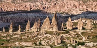 Panorama of amazing sandstone formations in Cappadocia, Turkey. royalty free stock photos