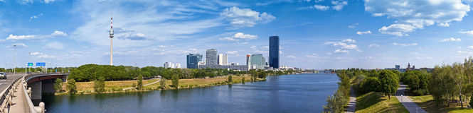 Panorama with the amazing skyline of Donau City Vienna and the brand new DC-Tower Royalty Free Stock Photography