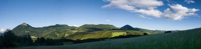 Panorama of amazing summer mountain landscape. With blue sky at dusk - Strazovske hills, Slovakia, Europe Royalty Free Stock Photos