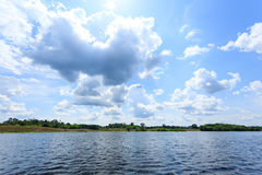 Panorama from Amazon rainforest, Brazilian wetland region. Royalty Free Stock Photo
