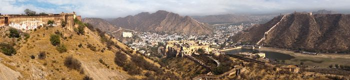 Panorama of Amber Fort. Jaipur, India Royalty Free Stock Photos