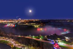 Panorama of American Falls and Horseshoe Falls at night Royalty Free Stock Photos