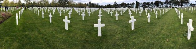 Panorama Amerykański cmentarz przy Normandy Fotografia Royalty Free