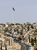 Panorama of Amman, Jordan. With view to the biggest world flag Royalty Free Stock Image